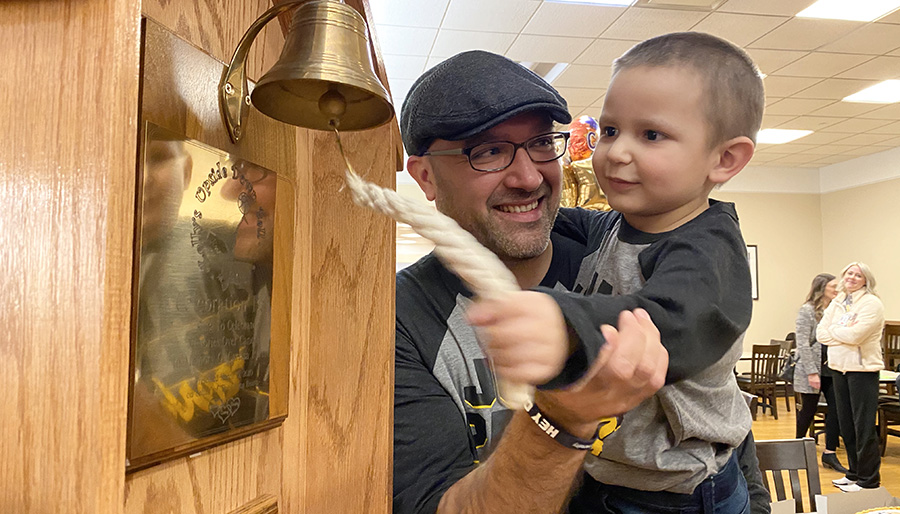 Juan Pablo bell ringing at Children's Wisconsin