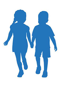 Blue kids from Children's Wisconsin logo